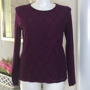 Talbots Purple Lace Overlay Long-Sleeve Top, XL